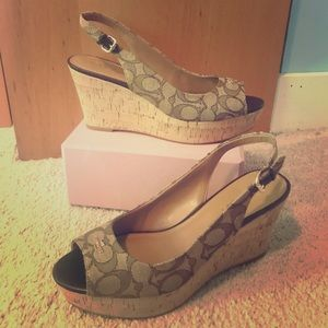 Coach signature wedge heels size 9